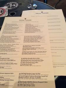 The menu at 99 tap / All Oregon, Loyal Legion