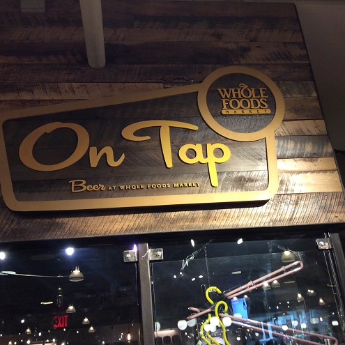 A Whole Foods craft beer bar at the Columbus Circle location.